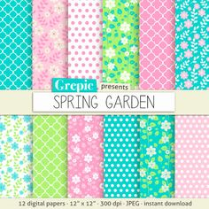 Floral digital paper SPRING GARDEN with pastel colored by Grepic, $4.80
