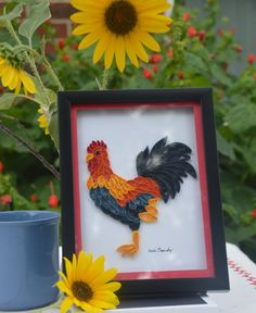 Quilled Rooster Art