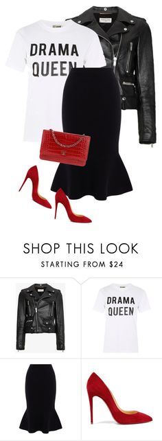 """Untitled #986"" by ashley-loves ❤ liked on Polyvore featuring Yves Saint Laurent, Love, Karen Millen, Christian Louboutin and Chanel"