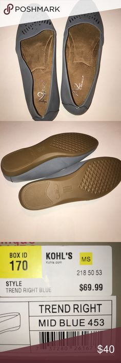 NWOT Never Worn Aerosoles Shoes size 10 summer The box says blue - but they look gray to me. Never worn. But feel so soft. Really cute design on top. Perfect for work or the weekend. AEROSOLES Shoes Flats & Loafers