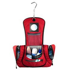Hanging travel toiletry case made of recycled water bottles