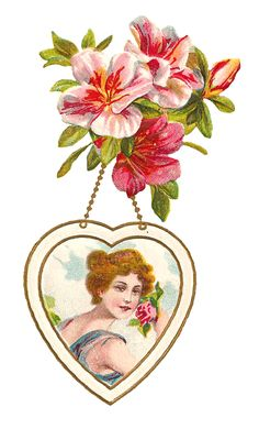 Antique Images: Free Valentine's Day Graphic: Vintage Valentine Greeting Postcard with Flowers and Beautiful Woman