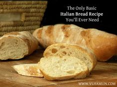 Need a quick and easy bread recipe? This basic Italian bread recipe requires just 6 simple ingredients and it's so delicious! We love to eat Italian food around here and honestly, no bread go… Basic Italian Bread Recipe, Italian Bread Recipes, Homemade French Bread, Easy Bread Recipes, Cooking Recipes, Italian Dishes, Baguette, Best Pizza Dough, Food To Make