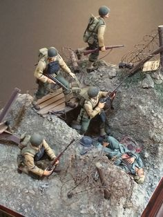 3d model diorama plans///The soldier on top looks like he's out for a Sunday stroll.