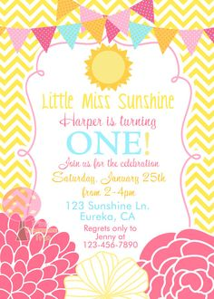 Little Miss Sunshine Birthday Party, Yellow Chevron, Invitation by…