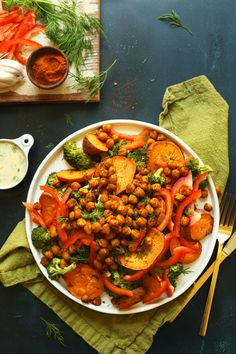 HEALTHY Savory Broccoli Sweet Potato Chickpea Salad with a simple Garlic Dill Sauce! w/ Tandoori Masala Spice Blend Recipe Veggie Recipes, Salad Recipes, Vegetarian Recipes, Dinner Recipes, Healthy Recipes, Vegan Soups, Rice Recipes, Vegan Food, Baker Recipes