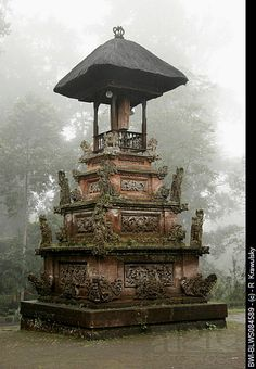 Holy shrine in the temple of Pura Luhur Batukau in the fog, Indonesia, Bali, Meru