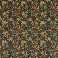 Meadow Fruit Printed Velvet Fabric A striking printed velvet with a design of multicoloured fruits and flowers on a patterned charcoal ground. The design, which features grapes, pomegranates, blackberries, cherries, and acorns alongside roses and varieties of dianthus, was first produced in 1911 and inspired by a mille-fleurs tapestry. It remains within the Arts and Crafts aesthetic, but would look perfect in a period or a contemporary room.