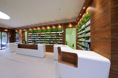 Pharmacy Marienthal by Atelier st, Zwickau - Germany Design Blog, Store Design, Visual Merchandising, Pharmacy Store, Drug Store, Pharmacy Humor, Showroom Interior Design, Interior Ideas, Clinic Design