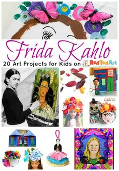 Easy Frida Kahlo Crafts for Kids as well as fantastic Frida Kahlo art projects. Learn all about Frida and her wonderful world of flowers and La Casa Azul. Art Activities For Kids, Preschool Art, Art For Kids, Crafts For Kids, Kids Art Class, Art Lessons For Kids, Kindergarten Art, Famous Artists For Kids, Great Artists