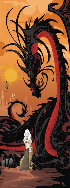Game of Thrones by Dejan Delic - Honestly. I have to get to the third book again, because reasons. And this: Daenerys Targaryen, the dragon girl. I tried WoT again and that was worth it. A Song of Ice and Fire (aka Game of Thrones) must be, too, right? Fantasy, Mother Of Dragons, Illustration, Fantasy Art, Mythical Creatures, Art, Dragon Art, Pictures, Fan Art