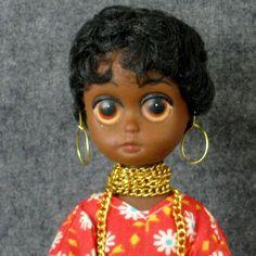 """Vintage Susie Sad  Eyes Soul Sister 8"""" Doll Pre-Blythe African American Big Eye"""