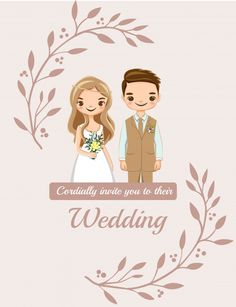Wedding Invitations Card With Cute Couple Bride And Groom Cartoon Engagement Invitation Cards, Wedding Invitation Background, Indian Wedding Invitation Cards, Wedding Invitation Card Template, Engagement Cards, Invitation Card Design, Floral Invitation, Wedding Invitation Design, Wedding Cards