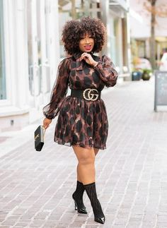 winter outfits blackgirl **NEW Tie Neck detail Lon - winteroutfits Black Women Fashion, Curvy Fashion, Look Fashion, Plus Size Fashion, Girl Fashion, Curvy Outfits, Chic Outfits, Plus Size Dresses, Plus Size Outfits