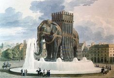 Les Miserables | The Elephant de Bastille, shown as drawn by architect Jean Alavoine, was a plaster model of what was intended by Napoleon to be a bronze statue, and stood near the Place de la Bastille from 1813-1846. The elephant -- or rather, its disintegration -- was commemorated in Les Miserables by Hugo. It will also be featured in director Tom Hooper's big screen adaptation (2012) of the musical Les Miserables.