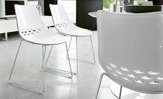 Set of two Calligaris Jam Sleigh chairs, white/ transparent - chrome, technopolymers - at mydeco.com - Shop for your home from Europe's best boutiques. This product is delivered by Design 55