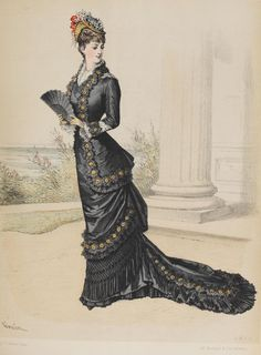 Le Moniteur de la Mode 1878. Began wearing long trains, that occasionally got stepped on.