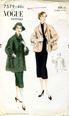 Vogue 7579 Vintage Misses' Swing Jacket in Two Lengths from 1952
