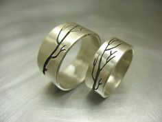 The Meeting Branch wedding Bands Set (6mm and 4mm width). $520.00, via Etsy.