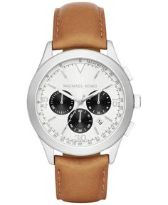 30079feb5af Michael Kors Men s Chronograph Gareth Tan Leather Strap Watch 43mm MK8470 -  Brought to you by