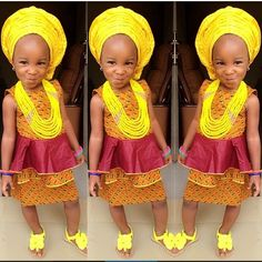 Ok, she is too cute in her Ánkàrà skirt and blouse with her yellow gélè and…