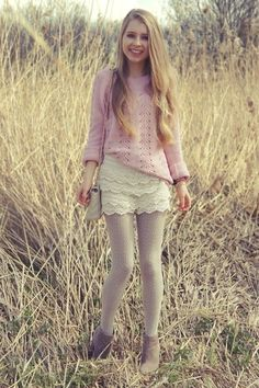 light pink sweater, ivory lace shorts, cream tights, ankle boots