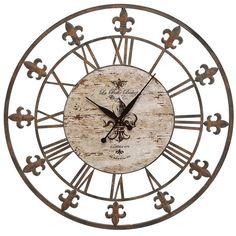 Found it at Wayfair - Oversized Sun Dial Wall Clock http://www.wayfair.com/daily-sales/p/Decor-from-%2415-Oversized-Sun-Dial-Wall-Clock~EHQ1125~E17373.html?refid=SBP.rBAZEVSLfcaWYiDCy5W4Ai5S1FLHJEbsg5NVeO9yMNM