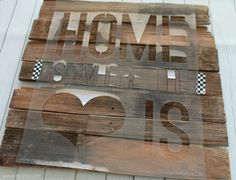 Lay stencil across wood, tape down to create Home is Where the Heart is sign #diy #palletart
