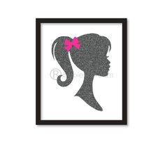 Nursery art -Glitter Vintage Barbie silhouette - Sparking Silhouette of  princess- girl room decor - on Etsy, $16.00