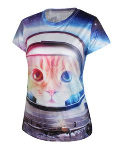 Creative cat 3D t shirt for women personalized short sleeve tee-