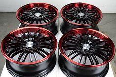 16 5x114.3 5x100 Black Effect Wheels Fits Subaru Forester Impreza Legacy Rims