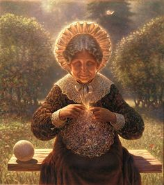 Russian artist Edward Pustovoitov gives us a crone who seems to be knitting up a cosmos.   [More like her at https://www.pinterest.com/yrauntruth/grow-up-age-croning/ ]