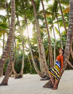 VOGUE MEXICO APRIL 2016Posing with palm trees, Samantha models a Missoni crop top and striped skirt