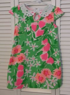 Lilly Pulitzer Child Dress Size 6 Girls Floral Lace Pearl Green Pink Lined #LillyPulitzer #Everyday