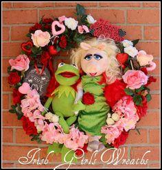 Kermit and Miss Piggy Muppet Valentine's Wreath, by IrishGirlsWreaths