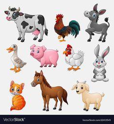Farm animal collection set on white background Vector Image – Nutztiere Farm Animals Preschool, Zoo Animals, Cute Baby Animals, Wild Animals, Cartoon Drawings, Animal Drawings, Cute Drawings, Animal Crossing Qr, Animal Wallpaper