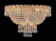 "Palace Century 16"" Flush Mount Crystal Chandelier Ceiling Lighting Fixture Gold"
