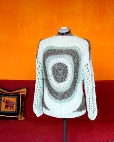 One of a Kind #Handmade #Knit #Pullover - COOL BREEZE VORTEX, #Spiral, #Light Green Blue, #Breeze, #spring #Color, #Circular #Geometry Pattern, #Cool #Design #Special #vintagesweater by DurgaUniverse on Etsy