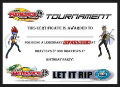 Beyblade birthday party tournament certificate