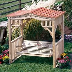LuxCraft Outdoor Deluxe Victorian Swing Stand from DutchCrafters Amish Furniture. Victorian-style covered swing stand. A lovely place to enjoy company, tea, or a good book. Made from pressure treated pine. Swing not included. Made in Ohio. #swingstand #coveredswingstand #coveredbenchswing