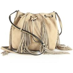 Diane von Furstenberg Fringed Nubuck Bucket Bag ($360) ❤ liked on Polyvore featuring bags, handbags, shoulder bags, apparel & accessories, brown, boho purse, fringe handbags, bucket shoulder bag, brown fringe handbag and brown fringe purse