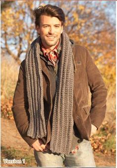 "He's the Man Crochet Scarf | AllFreeCrochet.com ~ quick to make with an ""M"" & chunky yarn ~ FREE CROCHET pattern ~ easy"