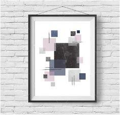 Abstract Print, Abstract Art, Geometric Print, Geometric Wall Art, Modern Print, Scandinavian Print, Modern Home Decor, Blush Navy Print