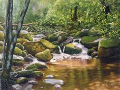 Roaring Fork Smoky Mountains watercolor landscape by CathyHillegas, $39.00