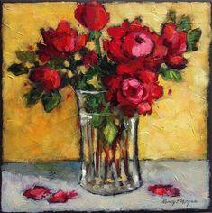"Daily Paintworks - ""October Roses"" - Original Fine Art for Sale - © Nancy F. Morgan"