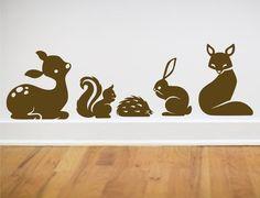 Animal set wall decals deer fox hedgehog bunny squirrel SMALL SIZE. $30.00, via Etsy.