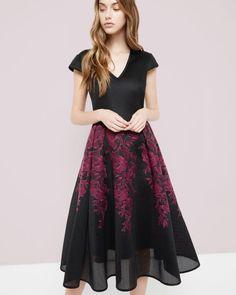 Embroidered mesh midi dress - Dark Red | Dresses | Ted Baker FR
