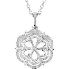 Sterling Silver and diamond flower pendant  Stuller