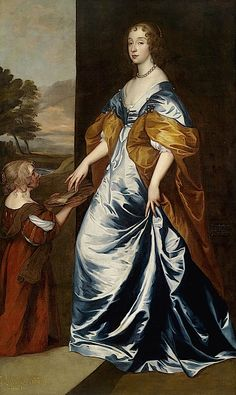 Mary, Duchess of Lennox and Richmond (1622–1685) with her lady's maid, the dwarf, Anne Shepherd, with lettering and inscription lower left Mary duchess of Richmond daughter of Duke of Buckingham by Sir Anthonis van Dyck workshop (Dorotheum)