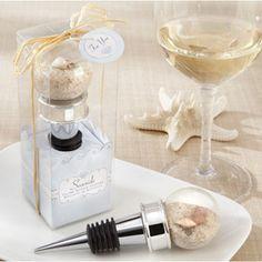 Seaside Sand and Shell-Filled Globe Wine Bottle Stopper